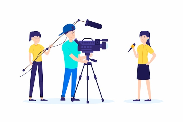 Collection de personnes faisant du journalisme