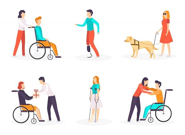 Collection de personnes handicapées.