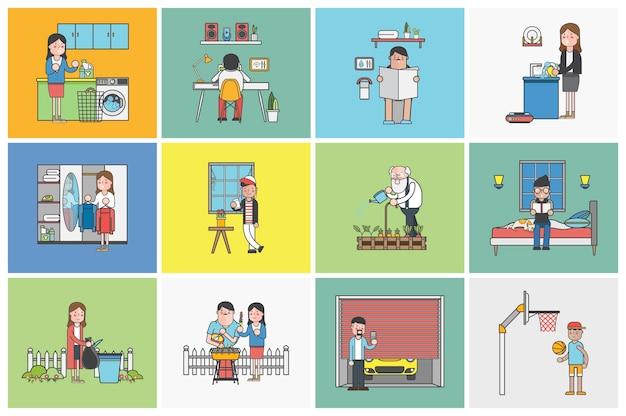 Collection de personnes illustrées dans diverses situations quotidiennes