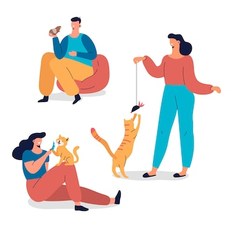 Collection de personnes jouant avec leurs animaux de compagnie