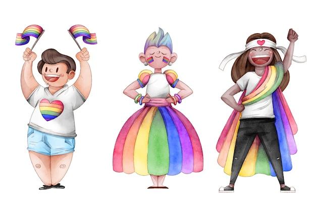 Collection de personnes de jour de fierté dessinés à la main