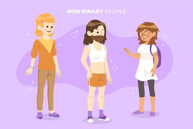 Collection de personnes non binaires plates organiques