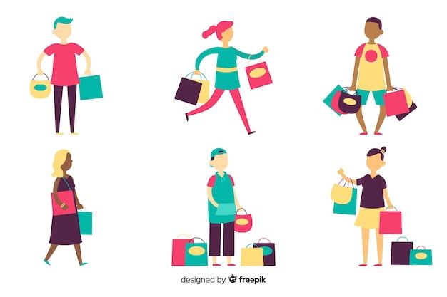 Collection de personnes portant des sacs à provisions