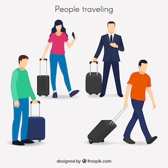 Collection de personnes simples voyageant