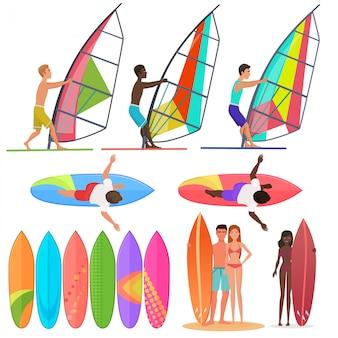 Collection de personnes surfer