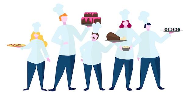Collection de personnes en tablier faisant un plat savoureux