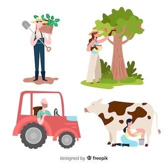 Collection de personnes travaillant à la ferme