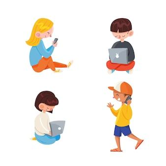 Collection de personnes utilisant des appareils technologiques