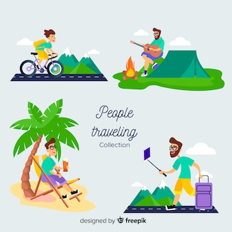 Collection de personnes voyageant en camping