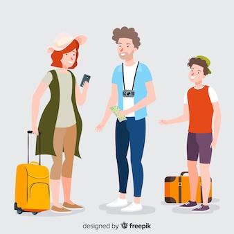 Collection de personnes voyageant dessinés à la main