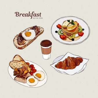 Collection de petit déjeuner, croquis de tirage à la main.