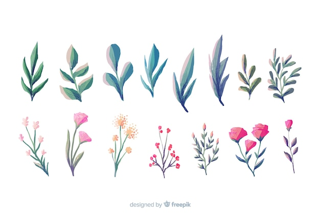 Collection de petites branches florales aquarelles