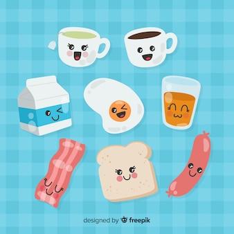 Collection de petits déjeuners charmants dessinés à la main