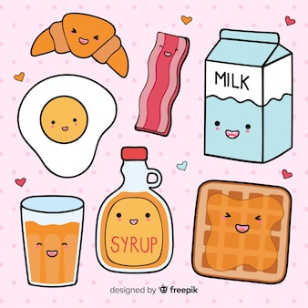 Collection de petits déjeuners dessinés à la main kawaii