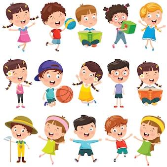 Collection de petits enfants dessinés