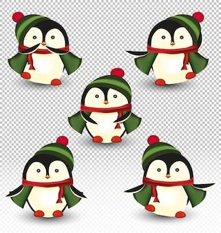 Collection de petits pingouins de noël.