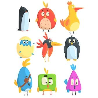 Collection de petits poussins d'oiseaux mignons de personnages de dessins animés en formes géométriques, bébés animaux mignons stylisés