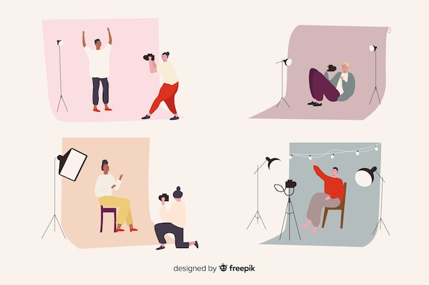 Collection de photographes illustrés prenant différents plans