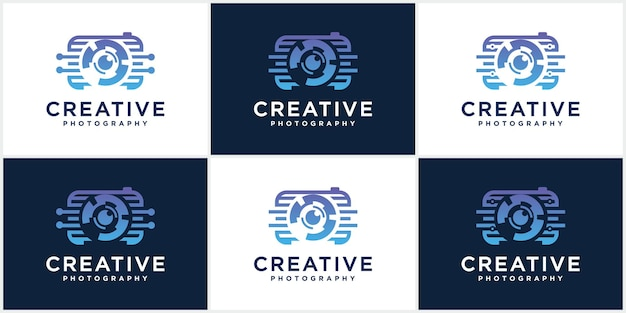Collection de photographies technologie caméras logo icône modèles vectoriels photographie logo design