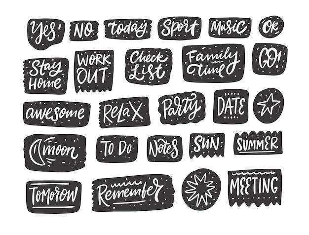 Collection de phrases de dialogue en noir et blanc