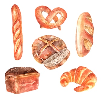 Collection de pictogrammes aquarelle aquarelle de pains frais boulangerie de baguette