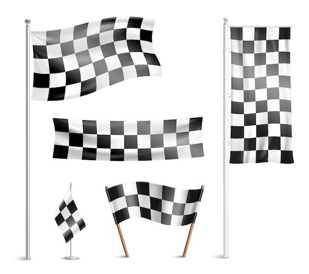 Collection de pictogrammes de drapeaux à damier