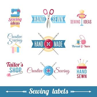 Collection de pictogrammes d'étiquettes à coudre
