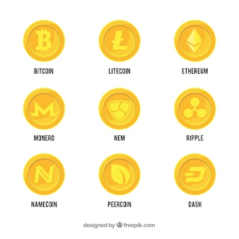 Collection de pièces de crypto-monnaie