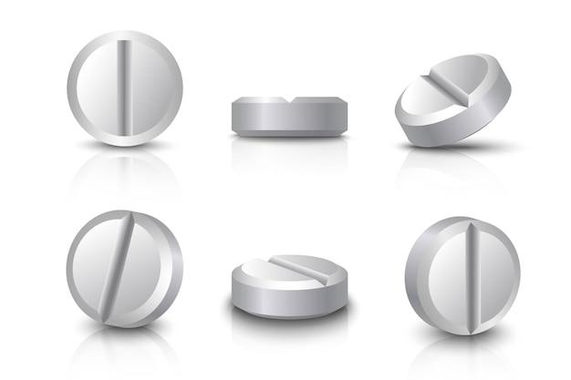 Collection de pilules blanches. icône illustration sur fond blanc.