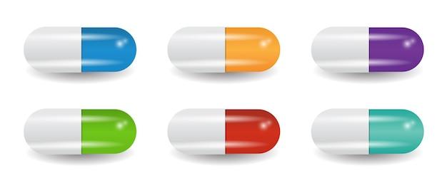 Collection de pilules de capsules multicolores.