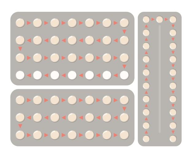 Collection de pilules contraceptives en emballage