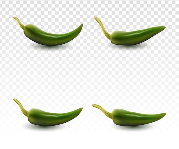Collection de piments verts réalistes sertie d'un fond blanc transparent