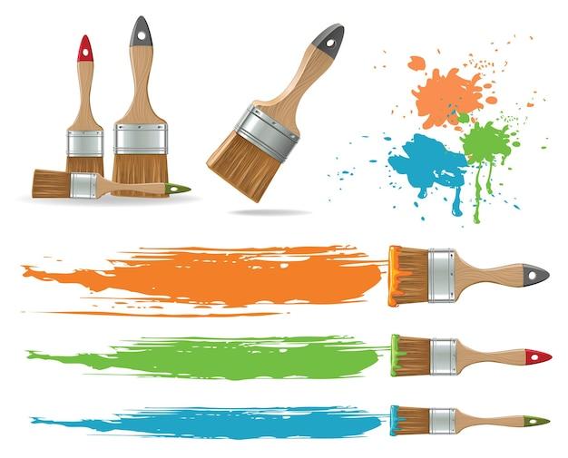Collection de pinceaux plats isolés et de taches de peinture