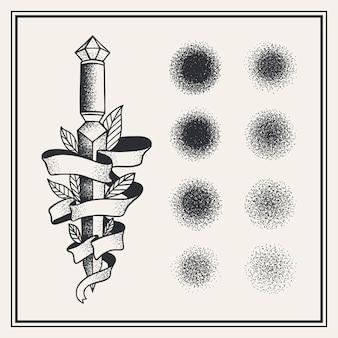 Collection de pinceaux pointillés dessinés à la main