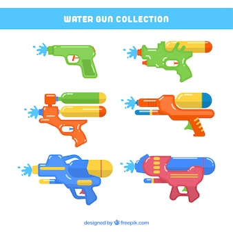 Collection de pistolets à eau colorée dans un style plat