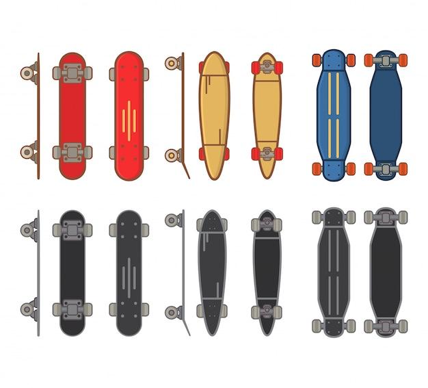 Collection de planches à roulettes pour les sports de rue de style de vie actif.