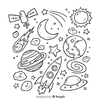 Collection planet en design de style doodle