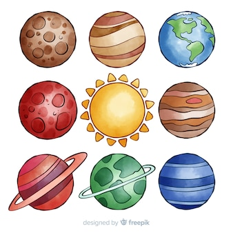 Collection planète aquarelle colorée