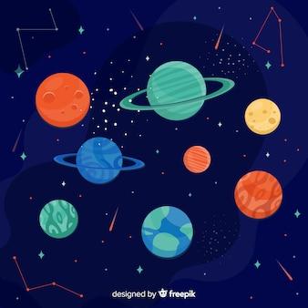 Collection planète design plat