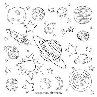 Collection de planète dessiné à la main dans un style doodle