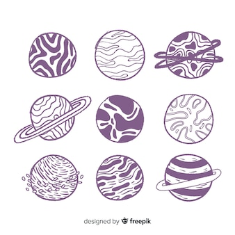 Collection de planète dessiné à la main dans un style doodle