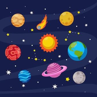 Collection de planète élément espace coloré conception de dessin animé de vecteur plat