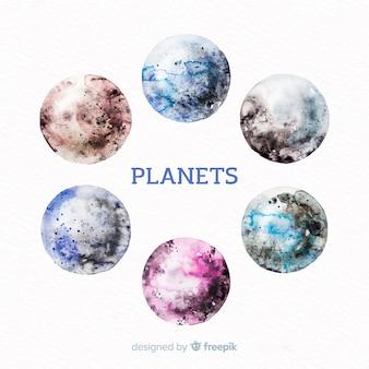 Collection de planètes aquarelles colorées