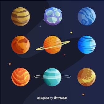 Collection de planètes dessinées à la main