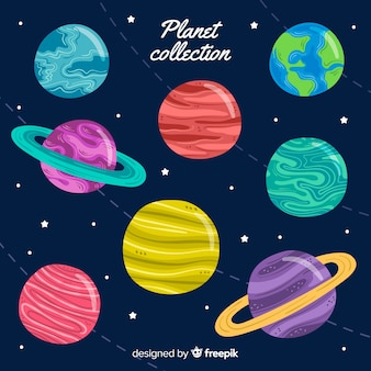 Collection de planètes dessinées à la main