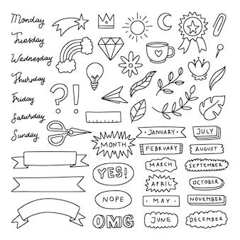 Collection de planificateur de griffonnage de journal dessiné à la main