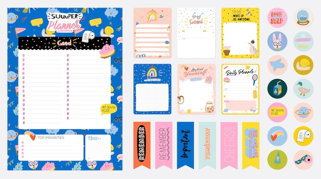 Collection de planificateur hebdomadaire ou quotidien, papier à lettres, liste de choses à faire, modèles d'autocollants décorés par mignon