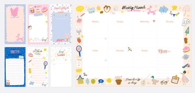 Collection de planificateur hebdomadaire ou quotidien, papier à lettres, liste de tâches, modèles d'autocollants décorés