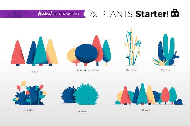 Collection de plantes et d'arbres
