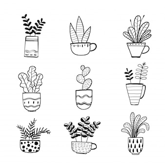 Collection de plantes dessinées à la main dans un pot.